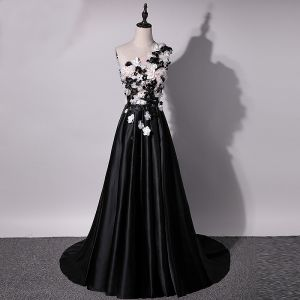 Chic / Beautiful Black Evening Dresses  2018 A-Line / Princess Artificial Flowers Rhinestone Pearl One-Shoulder Backless Sleeveless Sweep Train Formal Dresses
