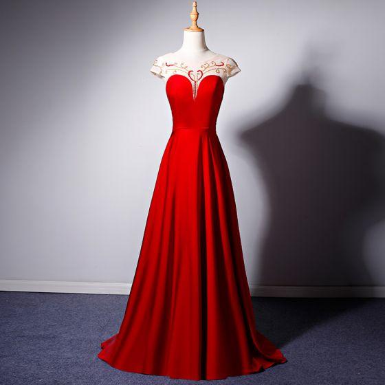 Edles Rot Durchsichtige Abendkleider 2019 A Linie Rundhalsausschnitt Ärmel Perlenstickerei Lange Rüschen Rückenfreies Festliche Kleider