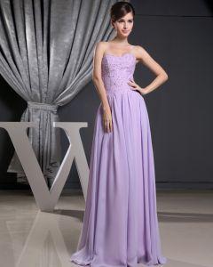 Mode Chiffon Charmeuse Silk Wulstigen Falten Schatz Bodenlangen Ärmellose Frauen Abendkleid