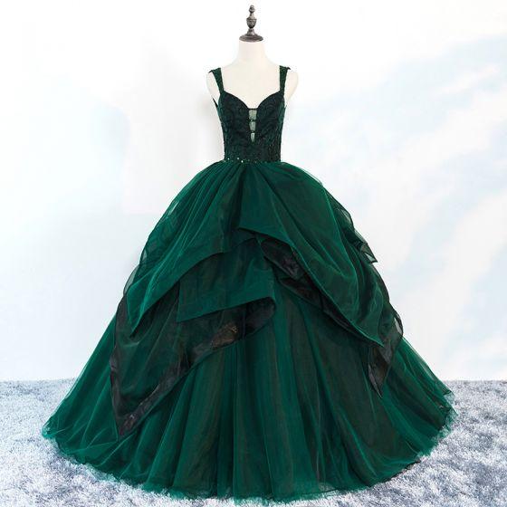 Hermoso Verde Oscuro Vestidos de gala 2018 Ball Gown Rebordear Volantes En Cascada Spaghetti Straps Sin Espalda Sin Mangas Largos Vestidos Formales