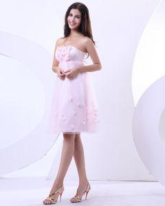 Fil Perles Volants En Satin Sans Manches Cherie Mini Robes De Fete De Mariée Courte