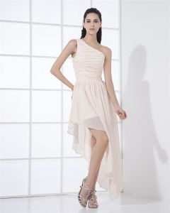 High Low Chiffon Ruffle One Shoulder Cocktail Party Dresses