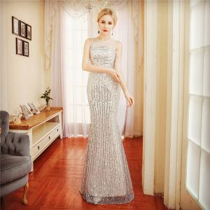 Sparkly Champagne Evening Dresses  2018 Trumpet / Mermaid Sash Sequins Scoop Neck Sleeveless Floor-Length / Long Formal Dresses