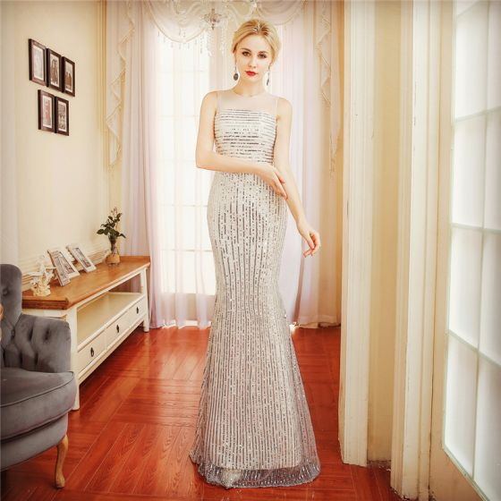 Sparkly Champagne Evening Dresses  2018 Trumpet / Mermaid Sash Sequins Scoop Neck Sleeveless Floor-Length / Long Formal Dresses