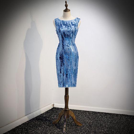 Błyszczące Niebieskie Strona Sukienka 2019 Wycięciem Cekiny Bez Rękawów Krótkie Sukienki Wizytowe