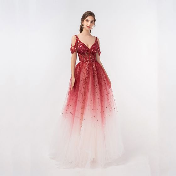 Luxury / Gorgeous Red Gradient-Color Dancing Prom Dresses 2020 A-Line / Princess Deep V-Neck Short Sleeve Beading Sequins Floor-Length / Long Ruffle Backless Formal Dresses