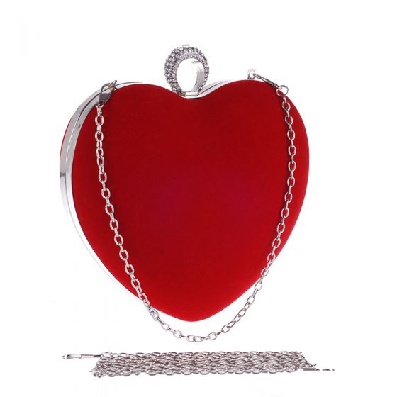 Amazing / Unique Red Rhinestone Heart-shaped Metal Clutch Bags 2018