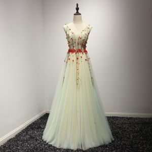 Chic / Beautiful Sage Green Evening Dresses  2017 A-Line / Princess V-Neck Sleeveless Appliques Flower Beading Floor-Length / Long Ruffle Backless Formal Dresses