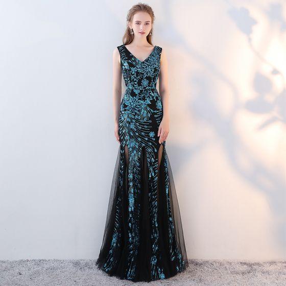Amazing / Unique Black Ocean Blue Evening Dresses  2017 Trumpet / Mermaid V-Neck Sleeveless Sequins Floor-Length / Long Backless Formal Dresses