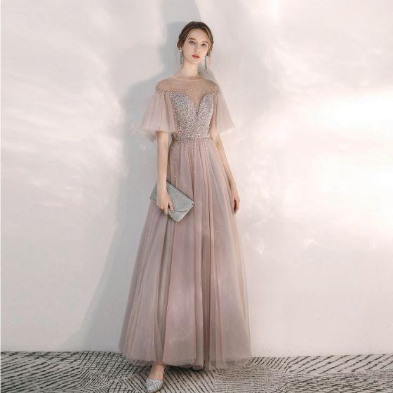 Elegante Blozen Roze Avondjurken 2020 A lijn Doorzichtige Vierkante Halslijn Bell mouwen Pailletten Kralen Lange Ruche Ruglooze Gelegenheid Jurken