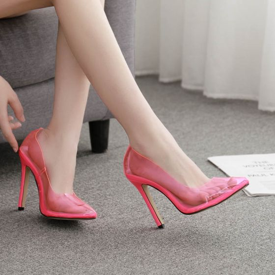 Fashion Candy Pink Rave Club See-through Pumps 2020 12 cm Stiletto Heels Pointed Toe Pumps