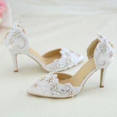 Schöne Weiß Brautschuhe 2019 Blumen Spitze Perle Strass 6 cm Stilettos Spitzschuh Hochzeit Hochhackige