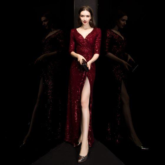 Sexy Burgundy Sequins Evening Dresses  2020 Trumpet / Mermaid Deep V-Neck 3/4 Sleeve Split Front Floor-Length / Long Formal Dresses