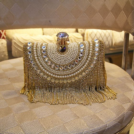 Fashion Gold Square Clutch Bags 2020 Metal Beading Pearl Rhinestone Tassel