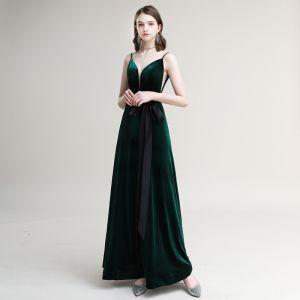 Eleganta Mörkgrön Mocka Aftonklänningar 2020 Prinsessa Spaghettiband Rosett Ärmlös Halterneck Långa Formella Klänningar