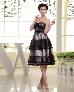 Thigh Length Sweetheart Neckline Pleat Tulle A-Line Woman Little Black Cocktail Dress