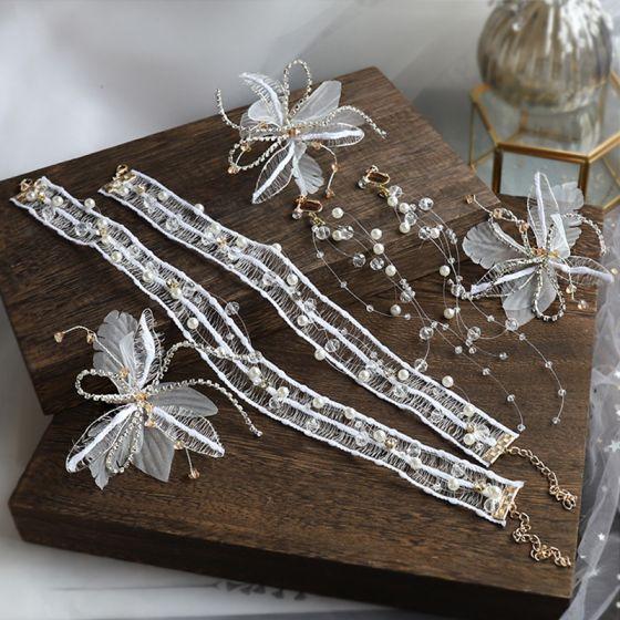 Elegantes Marfil Pendientes Collares Cintas para la cabeza Joyas 2020 Aleación Flor de seda Perla Rhinestone Crystal Tocados Tocados de novia