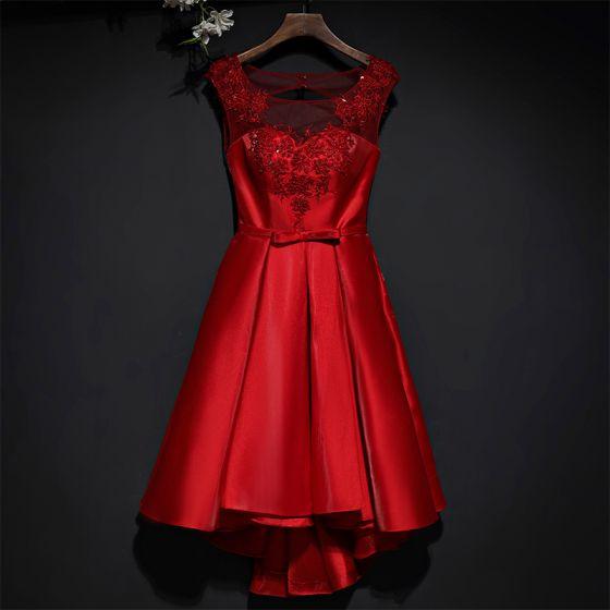 Hermoso Rojo Vestidos Formales Vestidos de noche 2017 Con Encaje Flor Bowknot Scoop Escote Sin Mangas Cortos A-Line / Princess