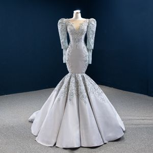 Vintage / Retro Grey Satin Red Carpet Evening Dresses  2020 Trumpet / Mermaid See-through Scoop Neck Puffy Long Sleeve Appliques Lace Beading Sequins Floor-Length / Long Ruffle Backless Formal Dresses