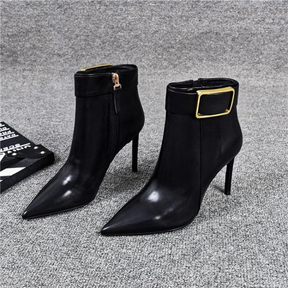 Moda Negro Ropa de calle Botas de mujer 2020 Cuero Tobillo 9 cm Stilettos / Tacones De Aguja Punta Estrecha Botas