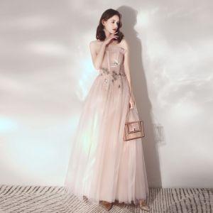 Élégant Rougissant Rose Robe De Soirée 2019 Princesse Volants Bustier En Dentelle Fleur Sans Manches Dos Nu Longueur Cheville Robe De Ceremonie