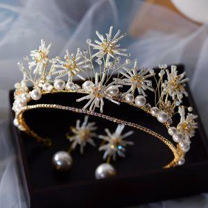High-end Guld Örhängen Tiara Brudsmycken 2020 Legering Beading Pärla Bröllop Tillbehör