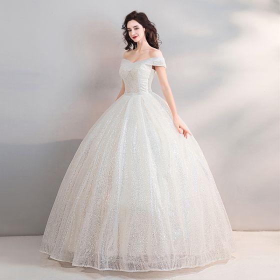 Scintillantes Bling Bling Blanche Longue Mariage 2018 Ciel étoilé Tulle Bustier Dos Nu Perlage Paillettes Robe Boule Robe De Mariée