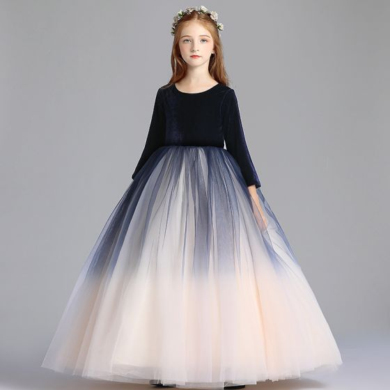 Modest / Simple Navy Blue Gradient-Color Champagne Flower Girl Dresses 2019 A-Line / Princess Scoop Neck 3/4 Sleeve Floor-Length / Long Ruffle Wedding Party Dresses