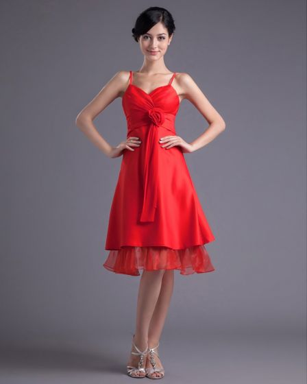 Fashion Satin Organza Pleated Flower Spaghetti Strap Knee Length Bridesmaid Dress