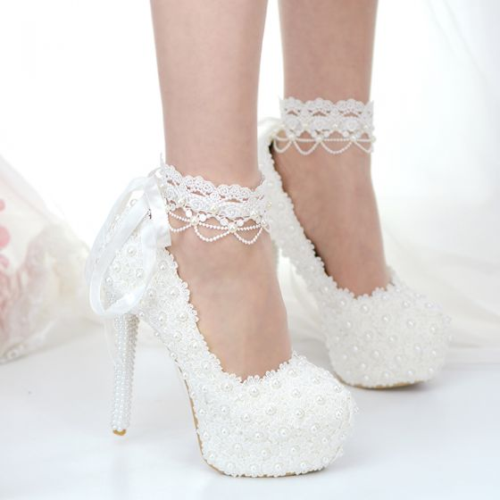 Classic Ivory Lace Flower Wedding Shoes 2020 Pearl 14 cm Stiletto Heels Round Toe Wedding Pumps