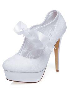 Classic Spitzen Brautschuhe Stilettos Mit Plattform Weiße High Heels Hochzeitsschuhe