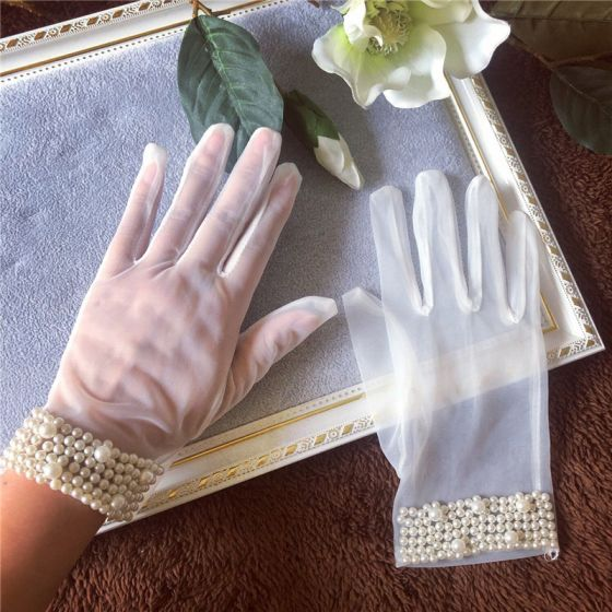 Classic Elegant White Bridal Gloves 2020 Beading Pearl Tulle Prom Wedding Accessories