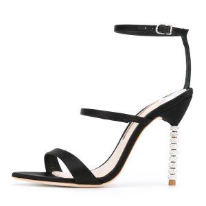 Mooie / Prachtige Zwarte Sandalen Dames 2018 Satijn Gesp 10 cm Naaldhakken / Stiletto Peep Toe Sandalen