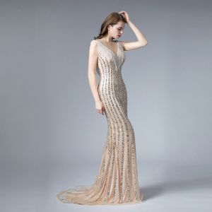 High-end Champagne See-through Evening Dresses  2019 Trumpet / Mermaid Square Neckline Sleeveless Sequins Beading Tassel Sweep Train Ruffle Formal Dresses