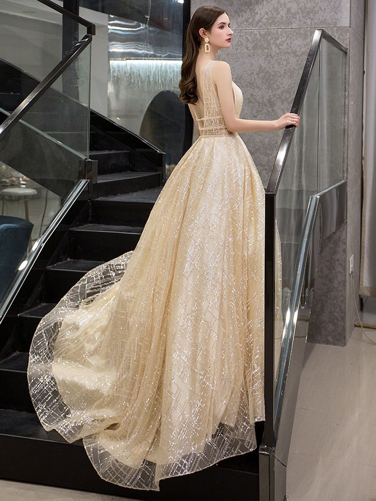 Illusion Gold See-through Evening Dresses  2019 A-Line / Princess Deep V-Neck Sleeveless Sequins Beading Glitter Tulle Sweep Train Ruffle Backless Formal Dresses