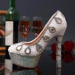 Charmant Schöne Ivory / Creme Perle Kristall Brautschuhe 2020 Strass Leder Wasserdichte 14 cm Stilettos Spitzschuh Hochzeit Pumps