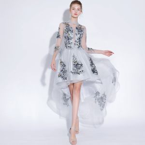 Sexy Grau Abendkleider 2018 A Linie Mit Spitze Applikationen Rundhalsausschnitt 3/4 Ärmel Kurze Hohes Niedriges Festliche Kleider