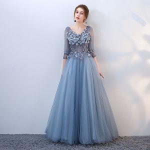 Elegant Pool Blue Prom Dresses 2018 A-Line / Princess Lace Flower Appliques Pearl V-Neck Backless 3/4 Sleeve Floor-Length / Long Formal Dresses