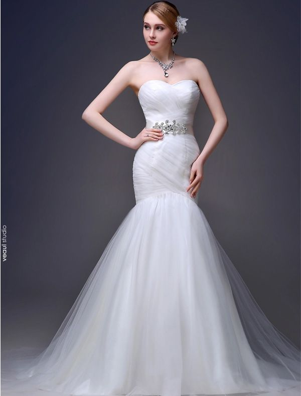 2015 Mermaid Sweetheart Ruffles Sash Tulle Sweep Train Wedding Dress