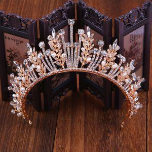 Mooie / Prachtige Goud Bruids Haaraccessoires 2020 Metaal Parel Rhinestone Tiara Huwelijk Accessoires