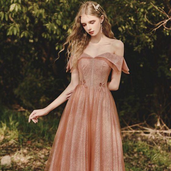 Fashion Glitter Orange Prom Dresses 2021 A-Line / Princess Off-The-Shoulder Short Sleeve Backless Floor-Length / Long Formal Dresses