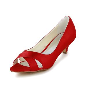 Simple Peep Toe Red Satin Kitten Heels Pumps Bridal Wedding Shoes