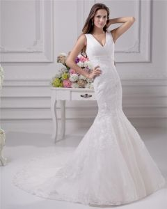 V Neckline Floor Length Lace Satin Women Mermaid Wedding Dress