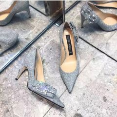 Sparkly Silver Evening Party Glitter Pumps 2020 Leather Rhinestone Sequins Bow 7 cm Stiletto Heels Pointed Toe Pumps