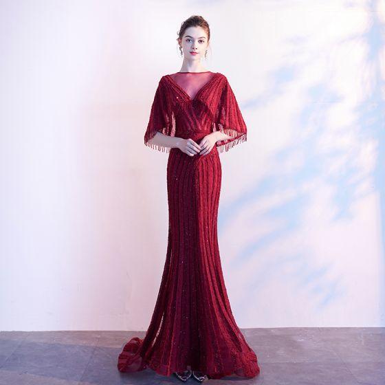 Lyx Burgundy Aftonklänningar 2019 Prinsessa Genomskinliga V-Hals Ärmlös Beading Tassel Svep Tåg Ruffle Formella Klänningar
