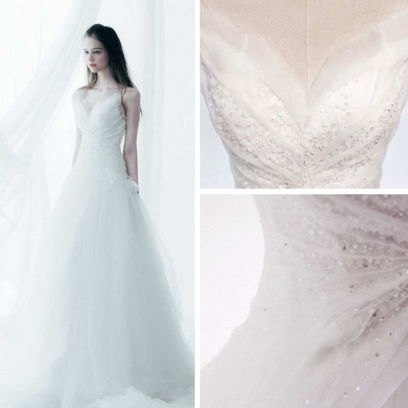 Sparkly Chic / Beautiful Church Wedding Dresses 2017 Cathedral Train White A-Line / Princess Sleeveless V-Neck Backless Crystal Sequins