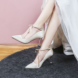 Chic / Beautiful Champagne Wedding Shoes 2020 8 cm / 3 inch Satin Rhinestone Strappy Pointed Toe Heels Womens Shoes