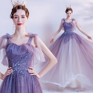 Chic / Beautiful Purple Glitter Tulle Prom Dresses 2021 A-Line / Princess Spaghetti Straps Sleeveless Beading Sweep Train Ruffle Backless Formal Dresses