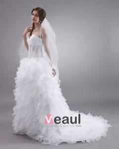 Sweetheart Plisami Haftu Organzy Zamiatac Suita Suknia Balowa Suknie Ślubne Sukienki Ślubne