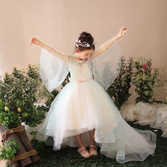 Chic / Belle Église Robe Pour Mariage 2017 Robe Ceremonie Fille Vert Cendré Asymétrique Robe Boule Encolure Dégagée Manches Longues Noeud Ceinture Appliques Paillettes Perlage